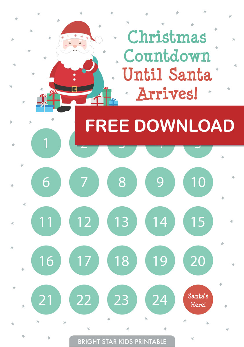 photograph relating to Christmas Countdown Printable referred to as Free of charge Xmas Countdown Arrival Printable - Vivid Star Children