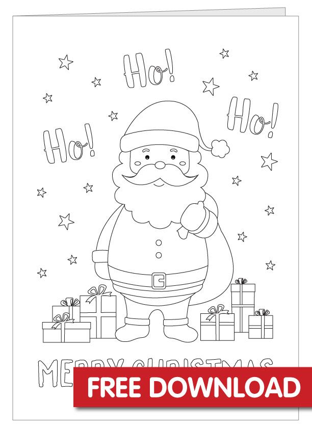 Free Santa Colouring in Card Printable