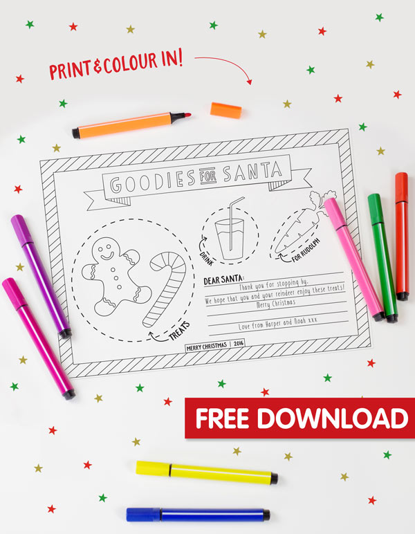 Free Christmas Placemat Printable
