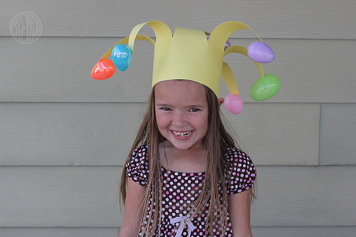 fda5fa96d2f This jester-like hat would be pretty easy   fun to make and wear. Simply  get hollow Easter egg shells   glue them onto a cardboard crown with extra  long ...