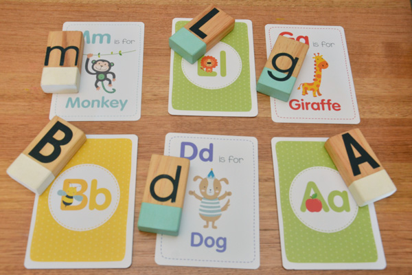 flash cards and letters