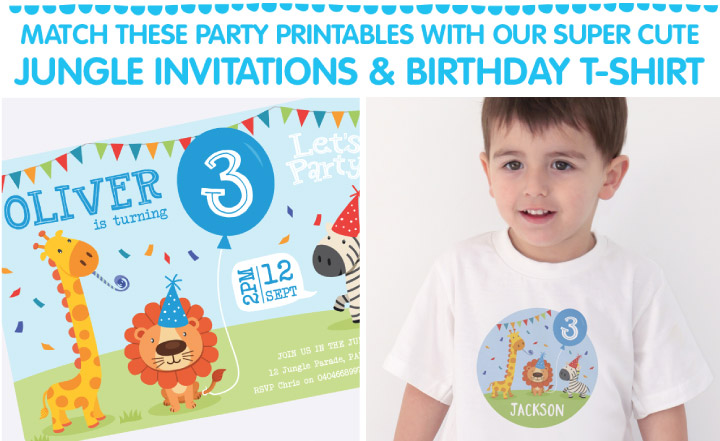 Jungle Birthday Invitations & Tshirt.