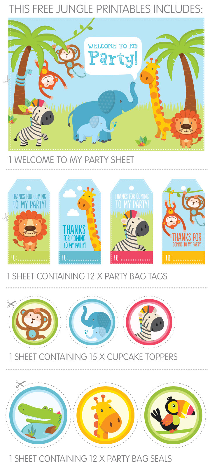 Free Jungle Party Printables For Childs 1st Birthday