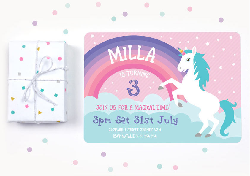 Unicorn These Adorable Birthday Party Invitations