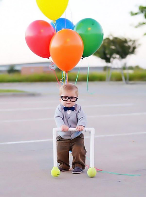 bright up everyones halloween this year with this adorable old man carl costume all you need are some helium balloons fake glasses and a little bow tie