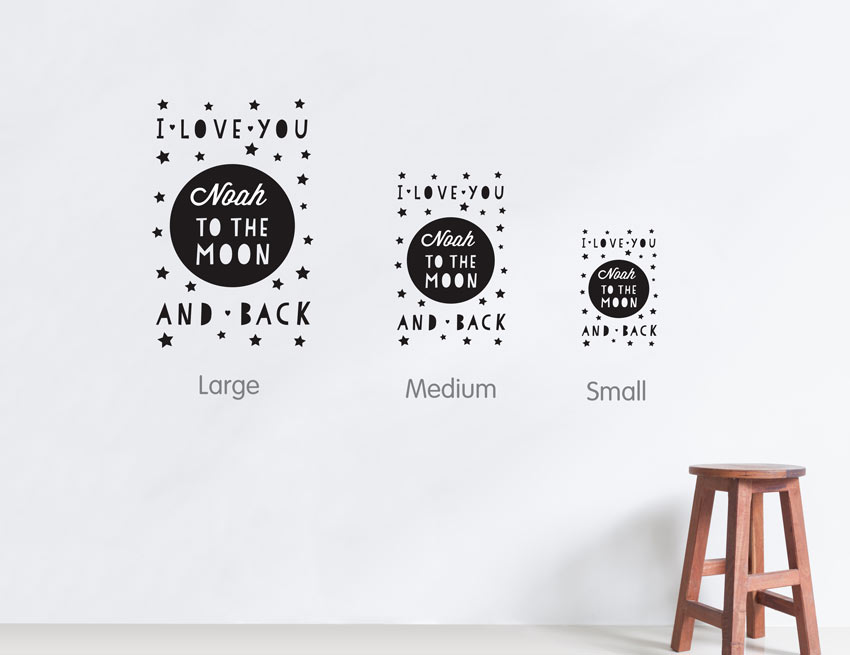 I Love You To The Moon And Back Wall Art bright star kids personalised wall art quote - i love you to the