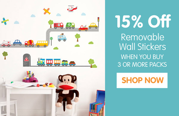 15% off Wall Stickers.
