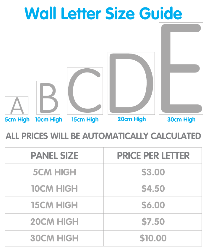 Wall Letter Price Chart