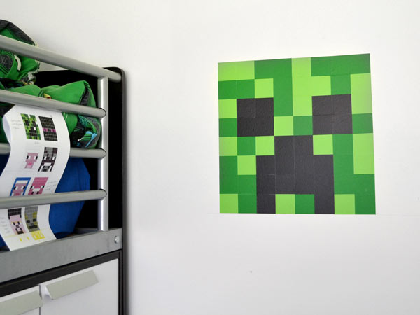 diy minecraft wall art tutorial using wall decals ideas for bedroom wall art decal minecraft wall borders